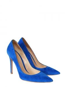 Escarpins en suède bleu électrique talon stiletto NEUFS Px boutique 500€ Taille 38