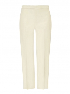 Ivory crepe de chine straight-leg pants Retail price €480 Size 36