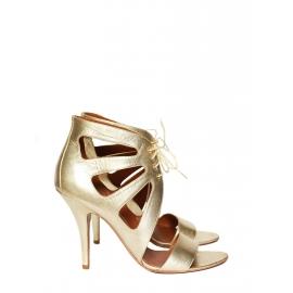 Sandales découpées à talons en cuir doré NEUVES Px boutique 600€ Taille 38