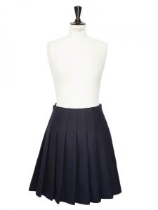 Jupe plissée en laine bleu marine Px boutique 700€ Taille 36