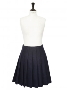 Navy blue wool pleated skirt Retail price €700 Size 36