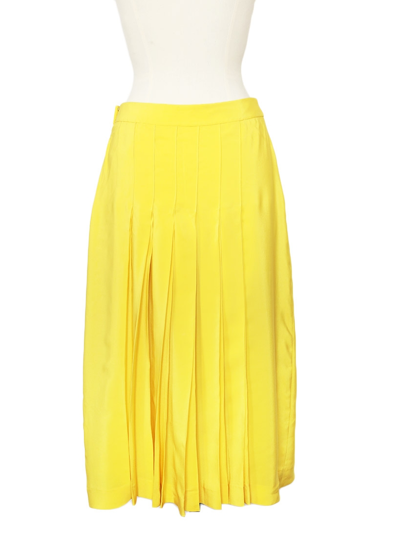 louise bright yellow silk crepe pleated