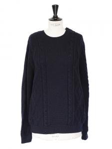 Pull en grosse maille de laine mérinos bleu marine NEUF Px boutique 220€ Taille 38