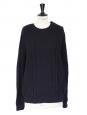 Pull oversized en grosse maille de laine mérinos bleu marine NEUF Px boutique 220€ Taille 38