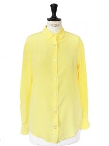 Chemise manches longues en soie jaune citron Px boutique 270€ Taille 36