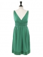Robe de cocktail style grec décolleté V profond en jersey vert émeraude Px boutique 320€ Taille 36