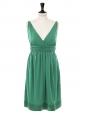 Robe de cocktail style grecque décolleté V profond en jersey vert émeraude Px boutique 320€ Taille 36