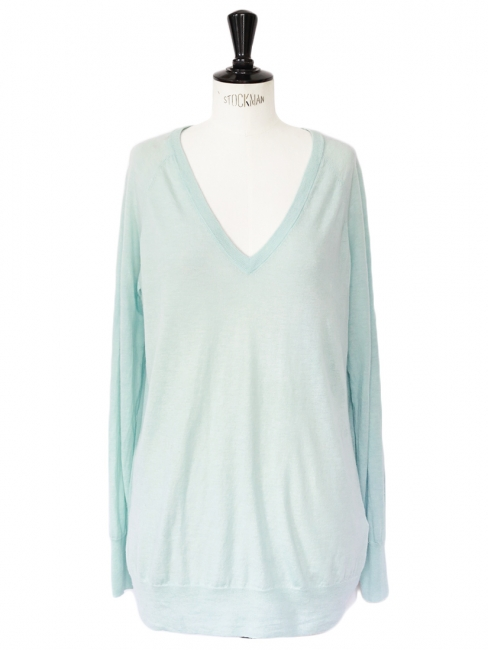 ASHER water green wool and cashmere V neck sweater Retail price €210 Size 38/40