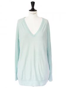 Pull ASHER col V en laine et cachemire vert d'eau Px boutique 210€ Taille 38/40