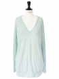 Pull ASHER col V en laine et cachemire vert d'eau Prix boutique 210€ Taille 38/40