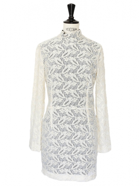 White Harlem duchess embroidered dress Retail price €435 Size 36