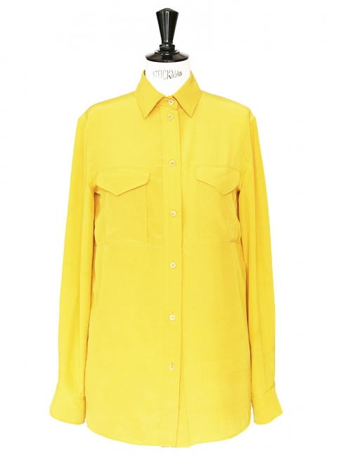 Bright yellow silk long sleeves blouse Retail price €500 Size 38