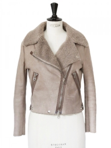 RITA Beige shearling aviator biker jacket Retail price €1900 Size 36