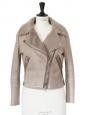RITA Beige shearling aviator biker jacket Retail price €1900 Size 36