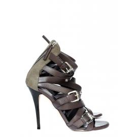 Sandales à talon stiletto multi-brides en cuir marron et toile kaki Prix boutique 850€ Taille 38