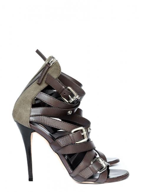Sandales multi brides talon stiletto en cuir marron et toile kaki Px boutique 850€