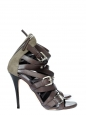 Brown leather and khaki canvas stiletto sandals Retail price €850 Size 38