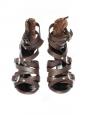 Sandales multi-brides talon stiletto en cuir marron et toile kaki Px boutique 850€ Taille 38