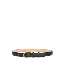 Black leather belt with gold brass buckle Retail price €430