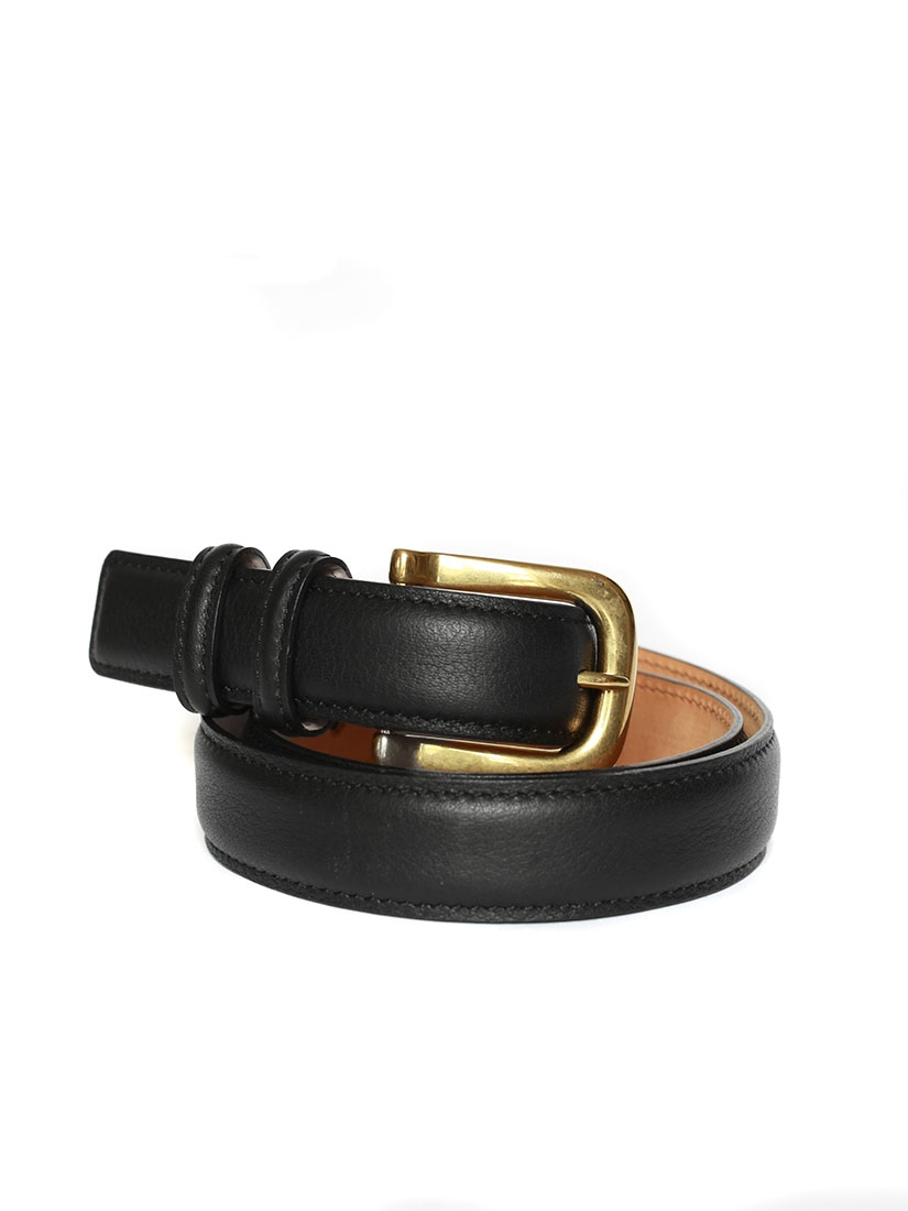 633961d243 Louise Paris - CHLOE Black leather belt with gold brass buckle ...