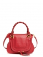 Marcie Small rubis red textured leather shoulder bag with strap Retail price €1450