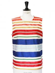 Top sans manches en coton et soie à rayures multicolores Px boutique 450€ Taille 40
