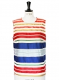 Multi colored cotton and silk sleeveless top Retail price €450 Size 40