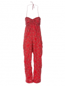 Combi-pantalon bustier en coton léger rouge imprimé bandana Px boutique 210€ Taille 36