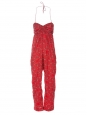 Bandana printed red cotton strapless jumpsuit Retail price €270 Size 36