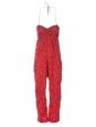 Combi-pantalon bustier en coton léger rouge imprimé bandana Px boutique 270€ Taille 36