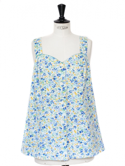 Blue, yellow, green and white floral printed cotton tank top Size 38/40