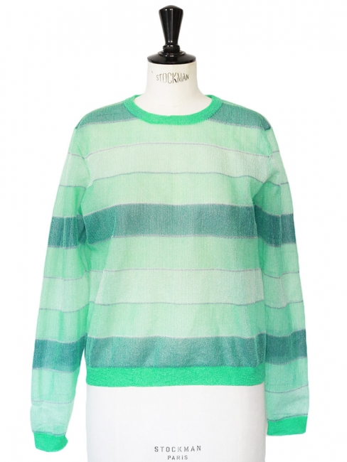 Light and dark green striped nylon sweater Retail price €320 Size S