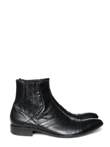 OLIVIER STRELLI Men's black leather ankle boots Retail price €210 Size 42