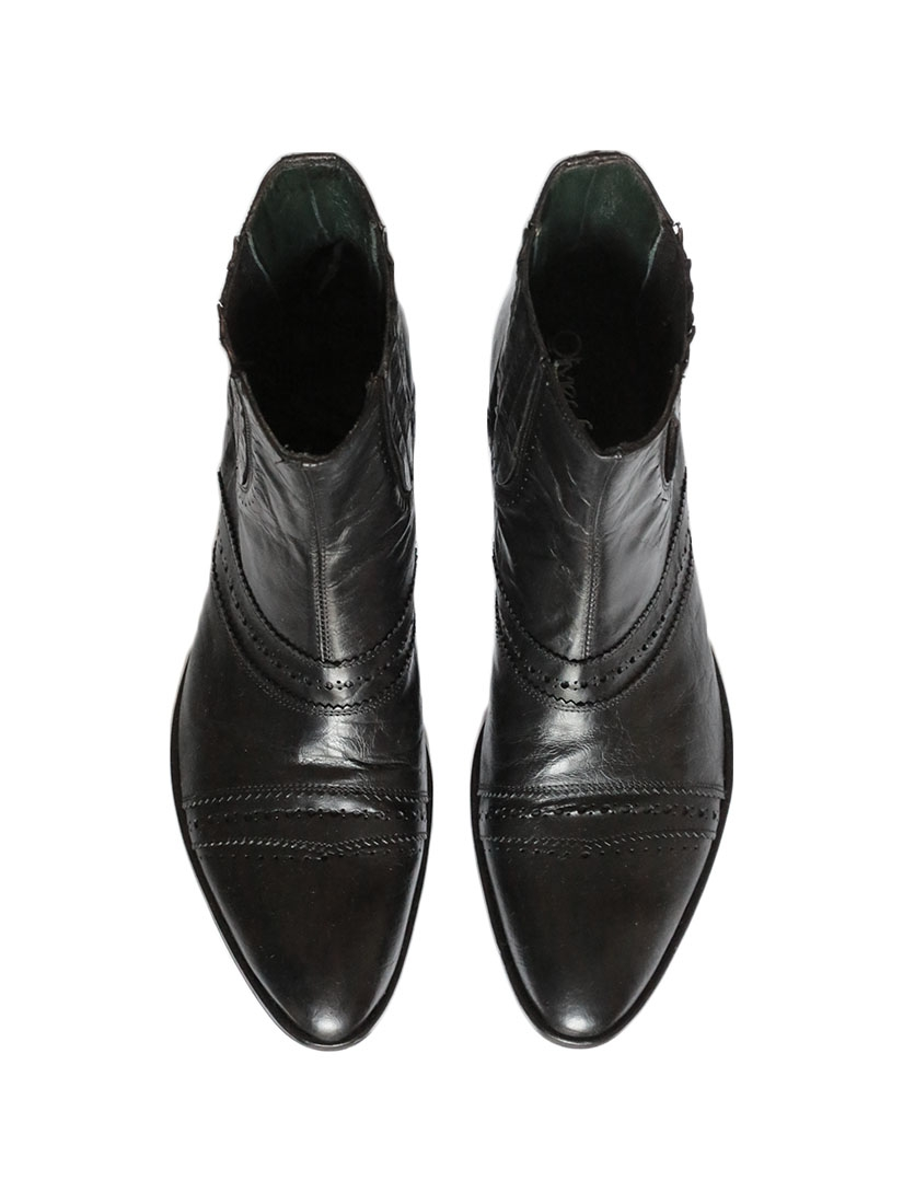 Louise Paris - OLIVIER STRELLI Men s black leather ankle boots ... 91474e7fe22