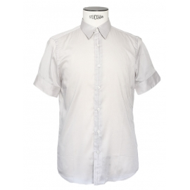 Light grey cotton veil short sleeves shirt Retail price €350 Size M