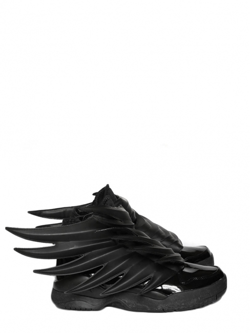 Louise Paris - Adidas Originals by Jeremy Scott Dark Knight JS Wings 3.0  black leather sneakers Size 42 92d8f2b57b