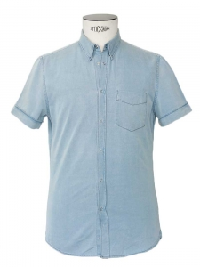 Men's light blue denim short sleeves shirt Retail price €160 Size 48 / small