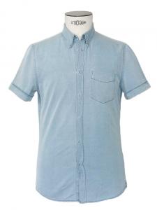 Chemise Homme manches courtes en coton bleu ciel Px boutique 160€ Taille 48 / Small