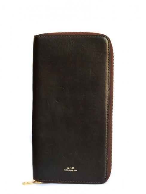 Portefeuille compagnon long en cuir marron brun NEUF Prix boutique 220€