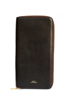 Dark brown calfskin leather long wallet Retail price €220 NEW