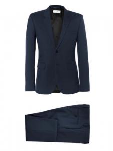 Costume Homme veste et pantalon Slim fit en laine bleu nuit Px boutique 1100€ Taille 46