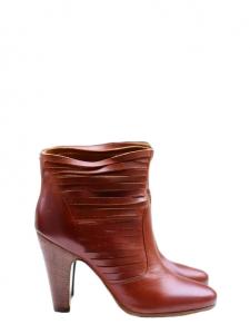 Bottines à talon en cuir découpé marron fauve Px boutique 750€ Taille 40