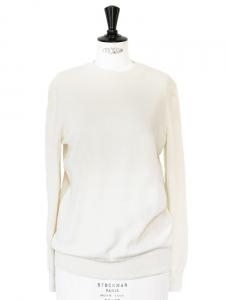 Ivory white fine wool round neck sweater Retail price €145 Size 38