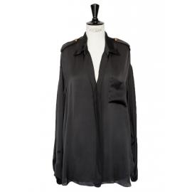 Chemise en soie noire décolletée manches longues Px boutique 1200€ Taille 40