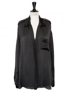 Chemise en soie noire décolletée manches longues Px boutique 1200€ Taille 38