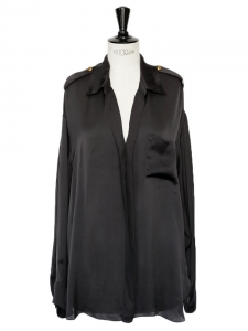 Deep V décolleté black silk long sleeves shirt Retail price €1200 Size 38