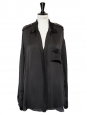 Deep V décolleté black silk long sleeves shirt Retail price €1200 Size 40