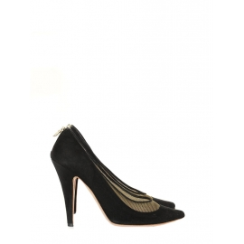 Gold metallic canvas and black suede high heel pumps Retail price €550 Size 39