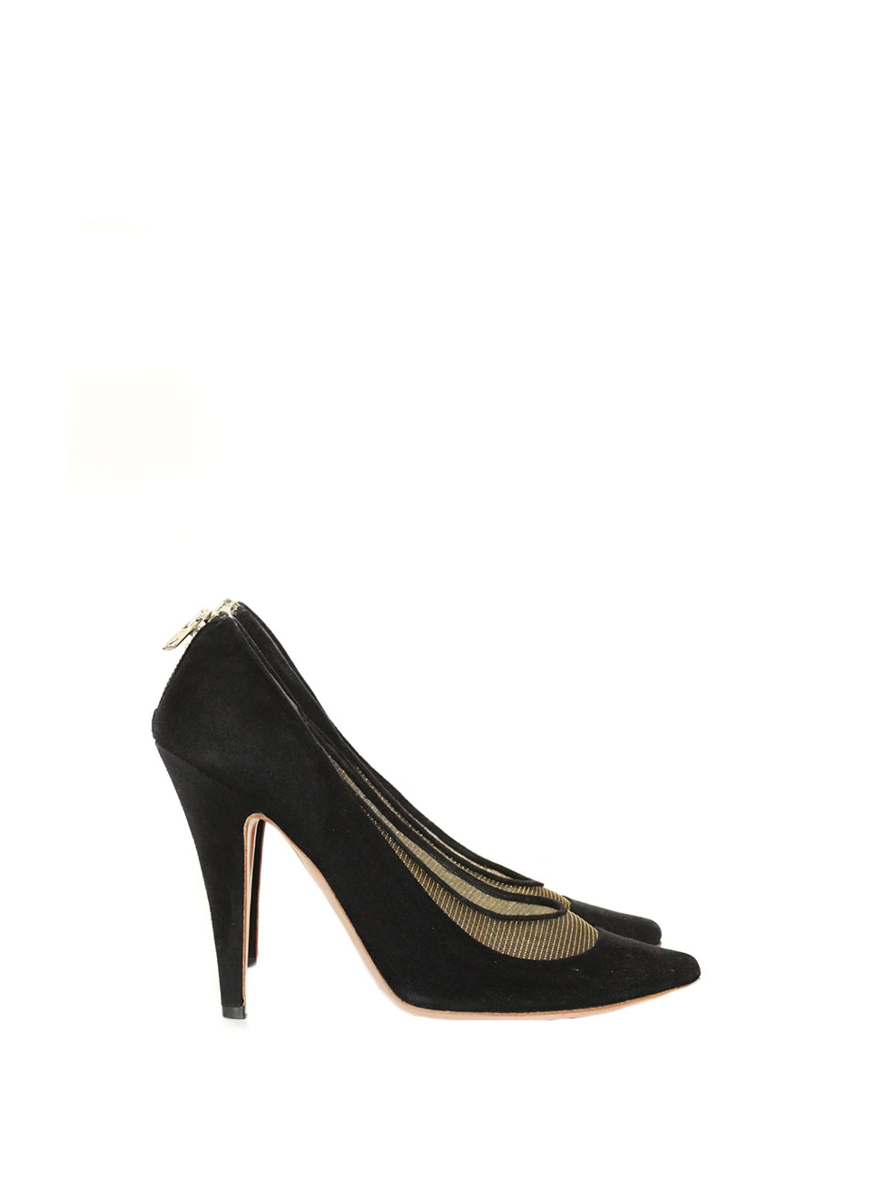 6f46914a5259 Gold metallic canvas and black suede high heel pumps Retail price €550 Size  39