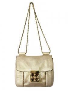 Sac Elsie Small en cuir métallisé doré et bandoulière chaîne Px boutique 1150€